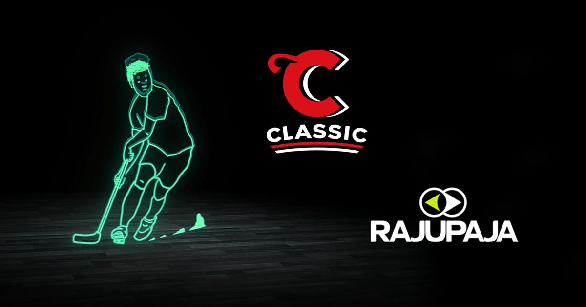 Sarjakuvahahmo pelaamassa salibandya sekä Classicin ja Rajupajan logot.